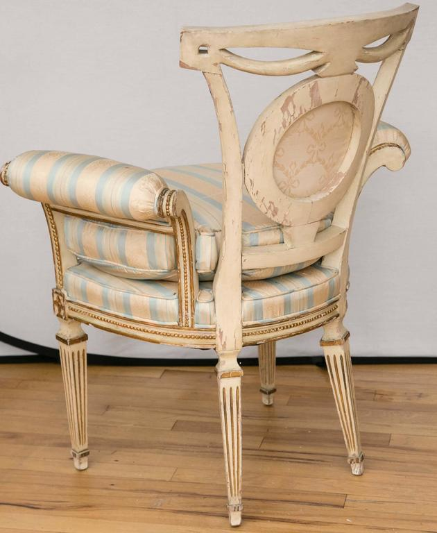 Pair of Louis XVI Style Parcel-Gilt Upholstered Fauteuils For Sale 1