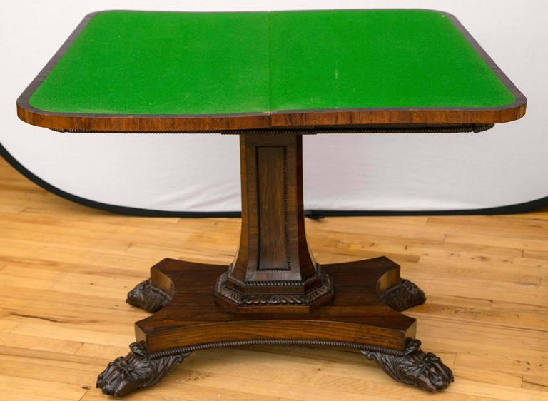 Pair of English Regency Period Rosewood Game Tables In Excellent Condition For Sale In Mt Kisco, NY