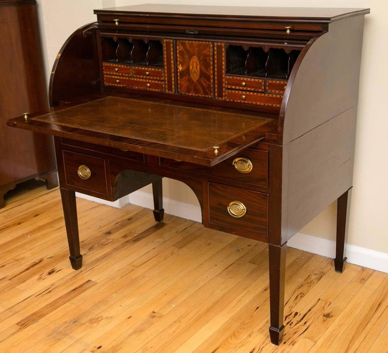 Early 19th Century Baltimore Federal Period Eagle Inlay Mahogany Cylinder Desk For Sale