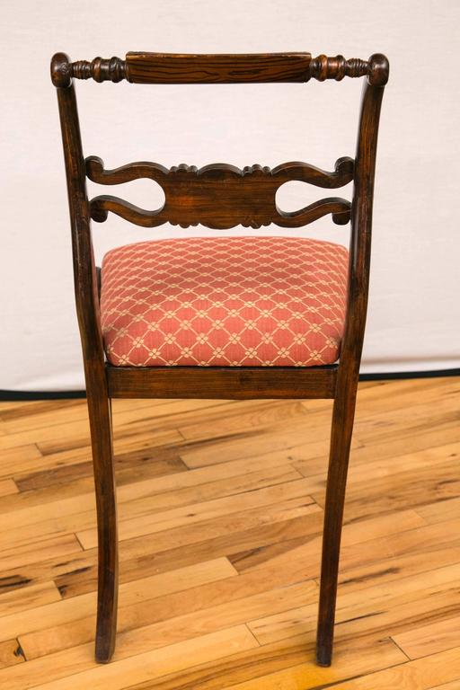 Set of Four English Regency Brass Inlay Side Chairs For Sale 4