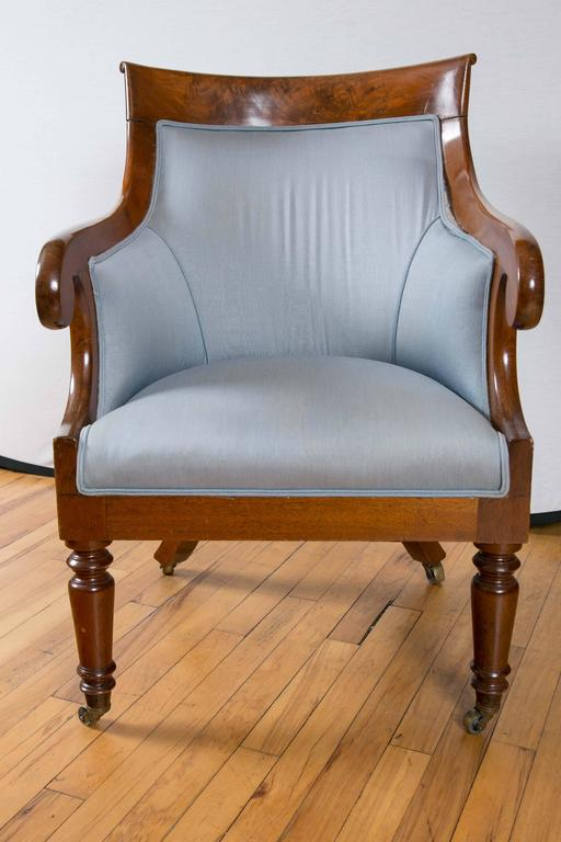 Pair of Regency Period Mahogany Library Bergères In Excellent Condition For Sale In Mt Kisco, NY