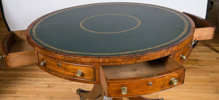 Leather English Regency Period Mahogany Drum Library Table For Sale