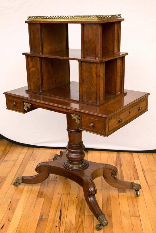 English Regency Period Mahogany Bonheur du Jour Desk For Sale