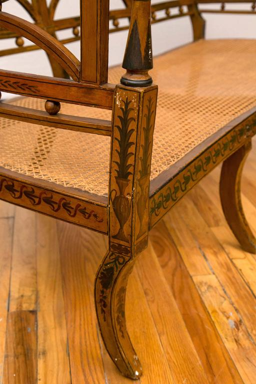 19th Century English Hand-Painted Sheraton Style Caned Seat Settee For Sale 3