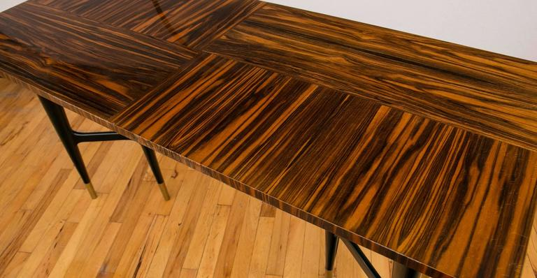 Mid-Century Modern Midcentury Macassar Ebony Writing Desk in the Manner of Gio Ponti For Sale