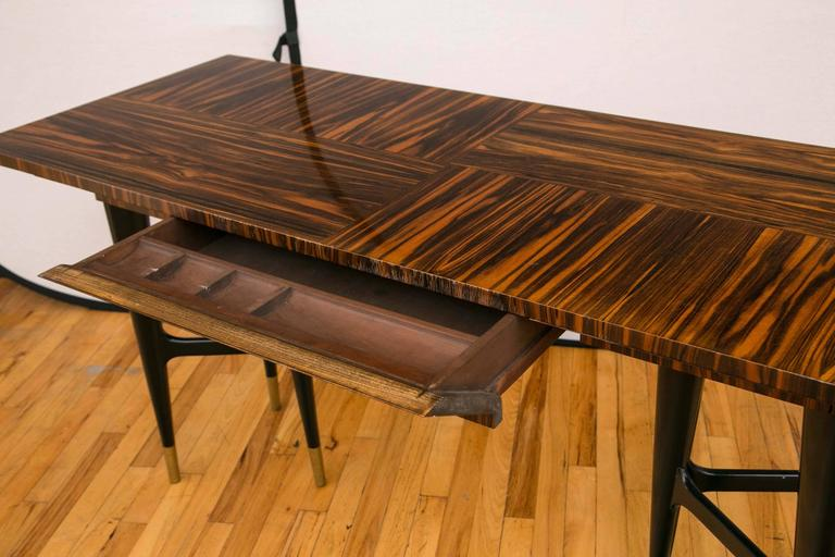 20th Century Midcentury Macassar Ebony Writing Desk in the Manner of Gio Ponti For Sale