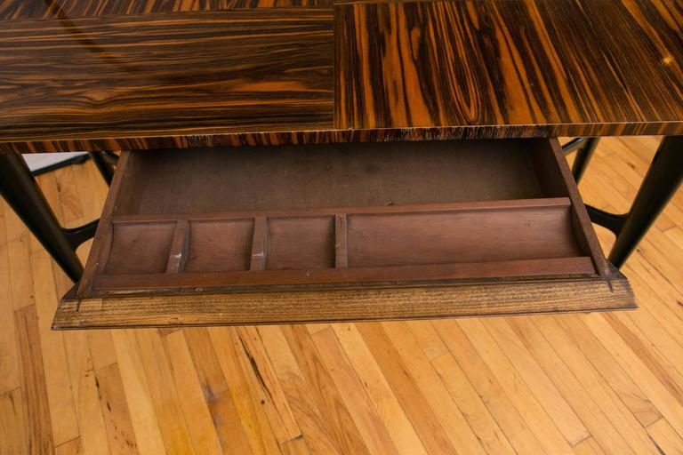 Midcentury Macassar Ebony Writing Desk in the Manner of Gio Ponti For Sale 1