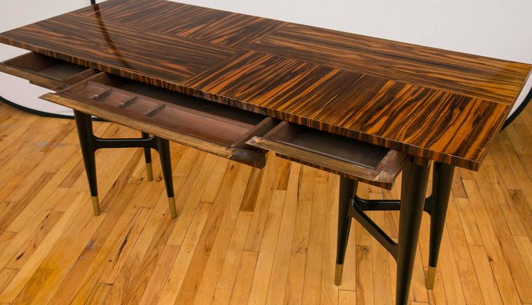 Midcentury Macassar Ebony Writing Desk in the Manner of Gio Ponti For Sale 4