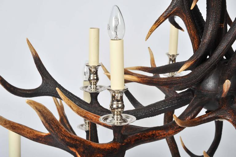 English Custom-Made Two-Tier Antler Chandelier For Sale