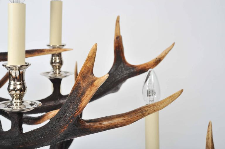 Contemporary Custom-Made Two-Tier Antler Chandelier For Sale