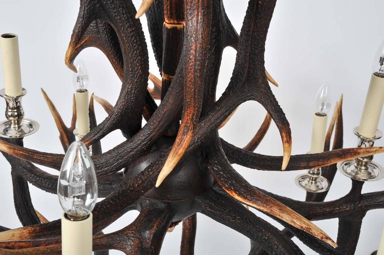 Nickel Custom-Made Two-Tier Antler Chandelier For Sale