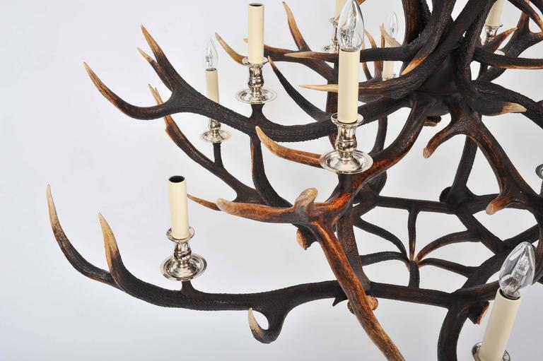 Custom-Made Two-Tier Antler Chandelier For Sale 3