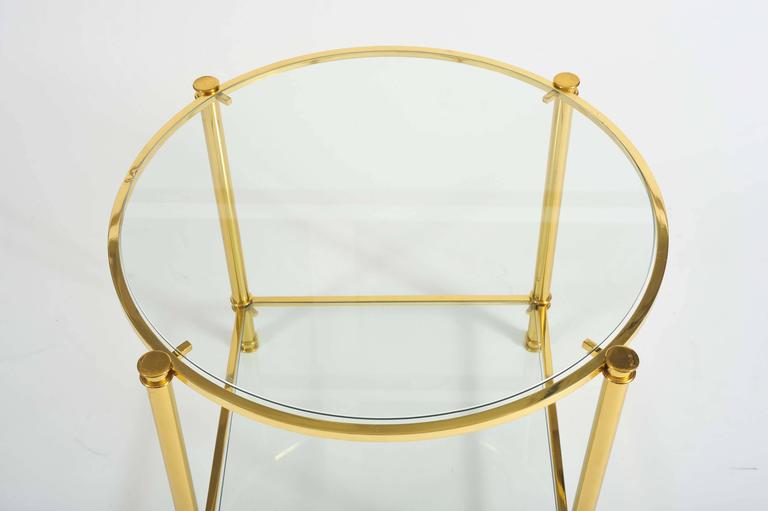 Pair of French, 1960s Glass and Brass Side Tables 2