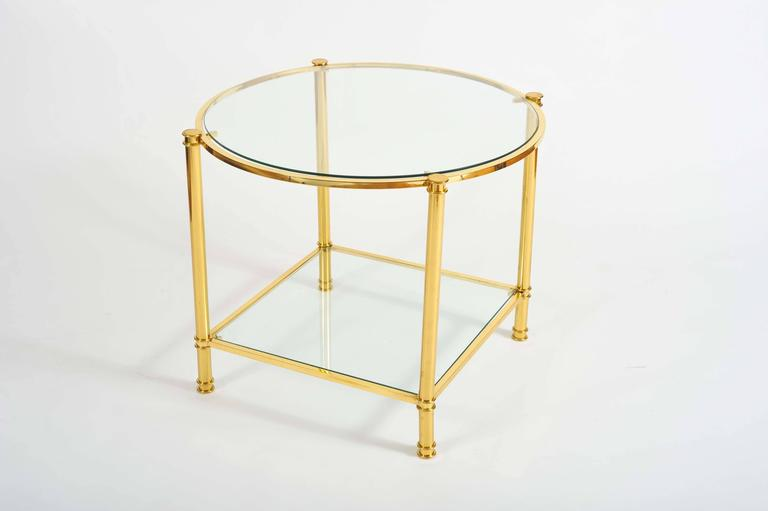 Pair of French, 1960s Glass and Brass Side Tables In Excellent Condition For Sale In London, GB