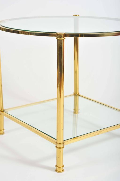 Mid-20th Century Pair of French, 1960s Glass and Brass Side Tables For Sale