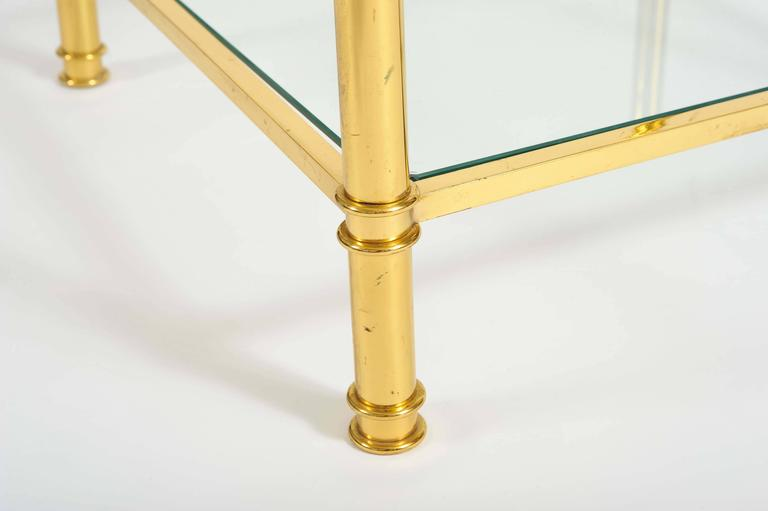 Pair of French, 1960s Glass and Brass Side Tables For Sale 1