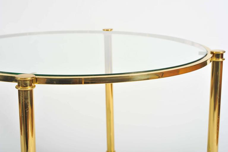 Pair of French, 1960s Glass and Brass Side Tables For Sale 2