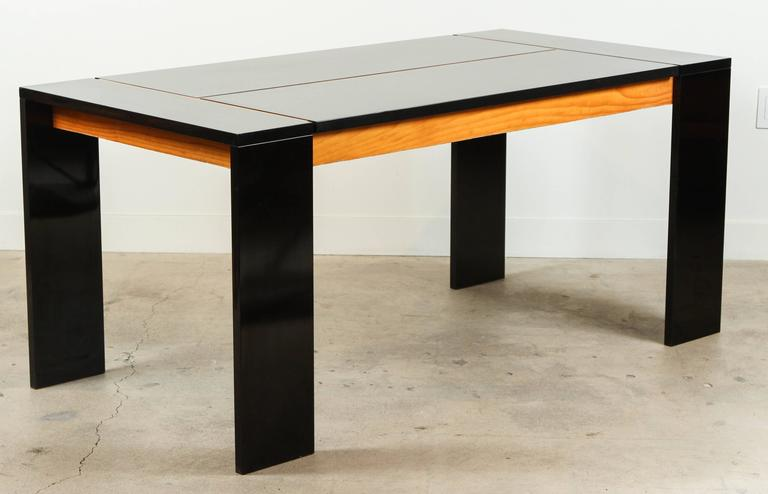 Italian Modern Dining Table In Black Laminate And Douglas Fir At 1stdibs