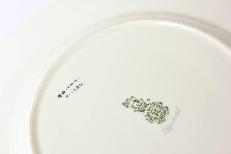 Gold 12 Antique English Fish Plates Hand-Painted and Artist Signed, circa 1915 For Sale