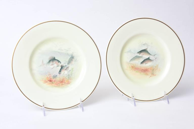 12 Antique English Fish Plates Hand-Painted and Artist Signed, circa 1915 For Sale 1