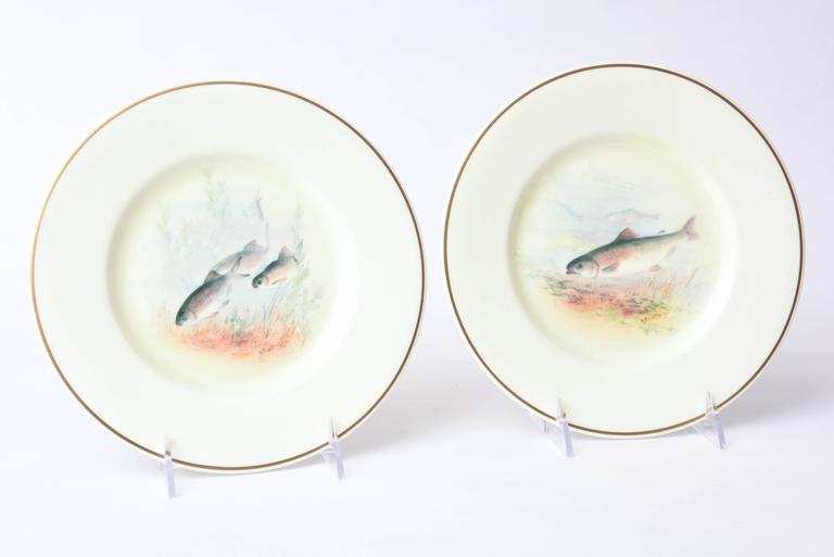12 Antique English Fish Plates Hand-Painted and Artist Signed, circa 1915 For Sale 2