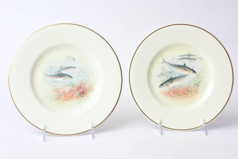 12 Antique English Fish Plates Hand-Painted and Artist Signed, circa 1915 For Sale 3