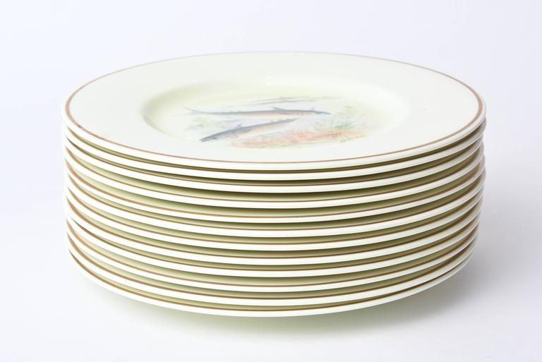 12 Antique English Fish Plates Hand-Painted and Artist Signed, circa 1915 For Sale 5