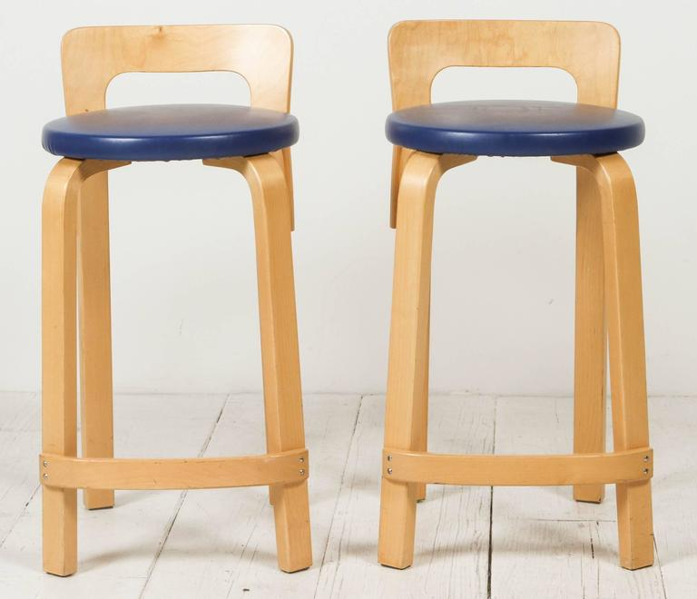Pair Of Alvar Aalto Bentwood K65 Stools For Sale At 1stdibs