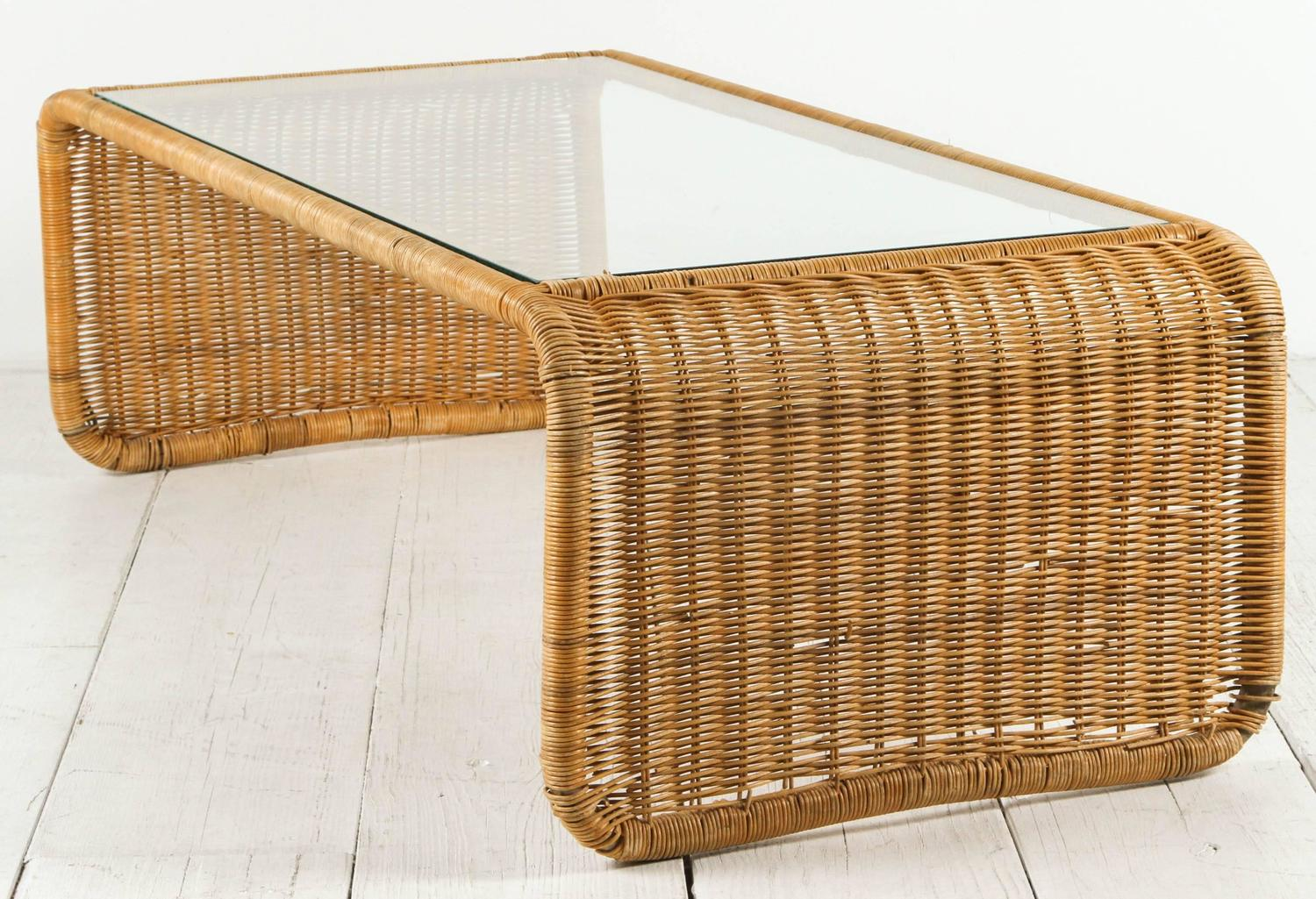 Rattan And Glass Waterfall Coffee Table For Sale At 1stdibs
