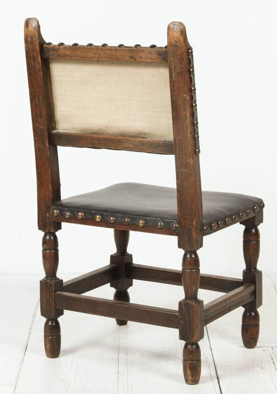 Spanish Leather Embellished Side Chair At 1stdibs