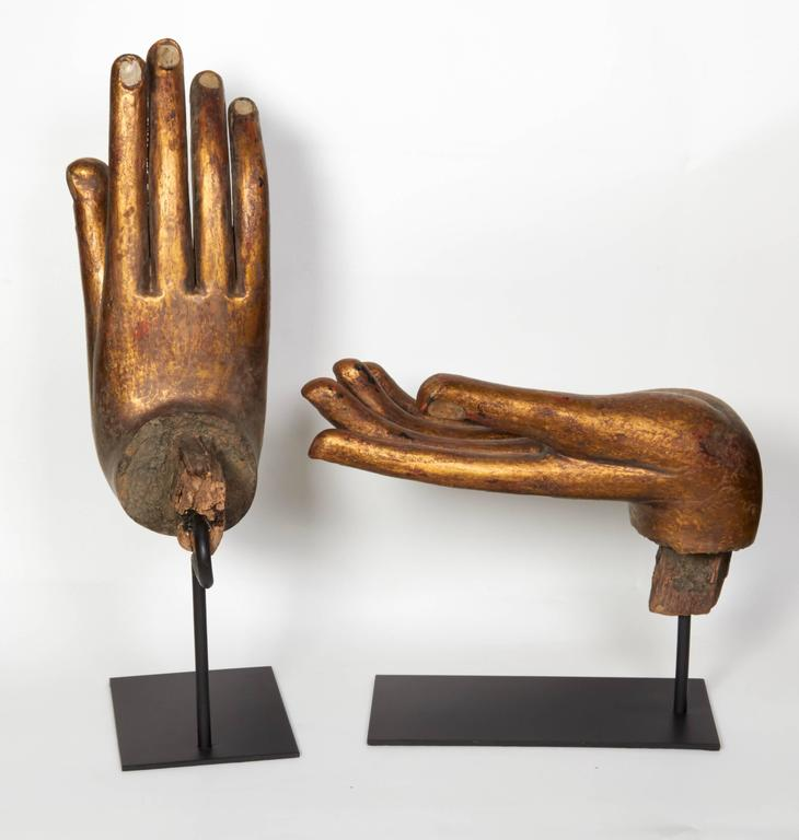 Gilt and Mother-of-Pearl Buddha Hand Sculptures, Late 20th Century In Good Condition For Sale In New York, NY