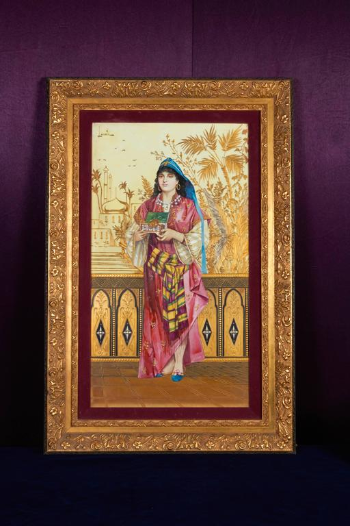 Monumental Pair of Porcelain Plaques of Orientalist or Turkish Women in Castle In Good Condition For Sale In New York, NY
