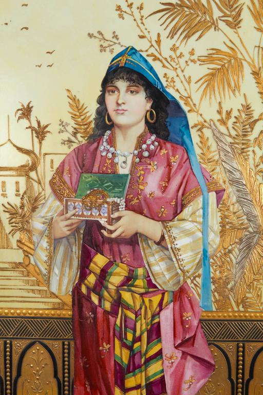 19th Century Monumental Pair of Porcelain Plaques of Orientalist or Turkish Women in Castle For Sale