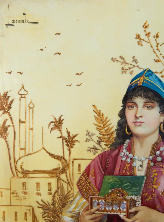 Gold Monumental Pair of Porcelain Plaques of Orientalist or Turkish Women in Castle For Sale