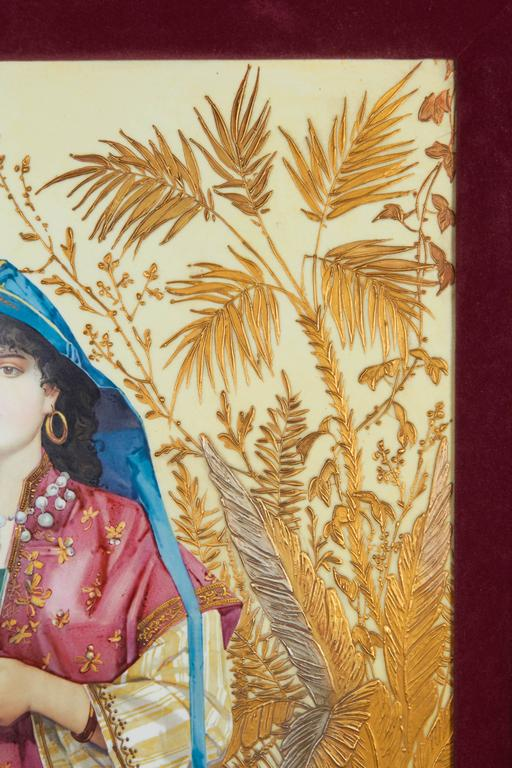 Monumental Pair of Porcelain Plaques of Orientalist or Turkish Women in Castle For Sale 1