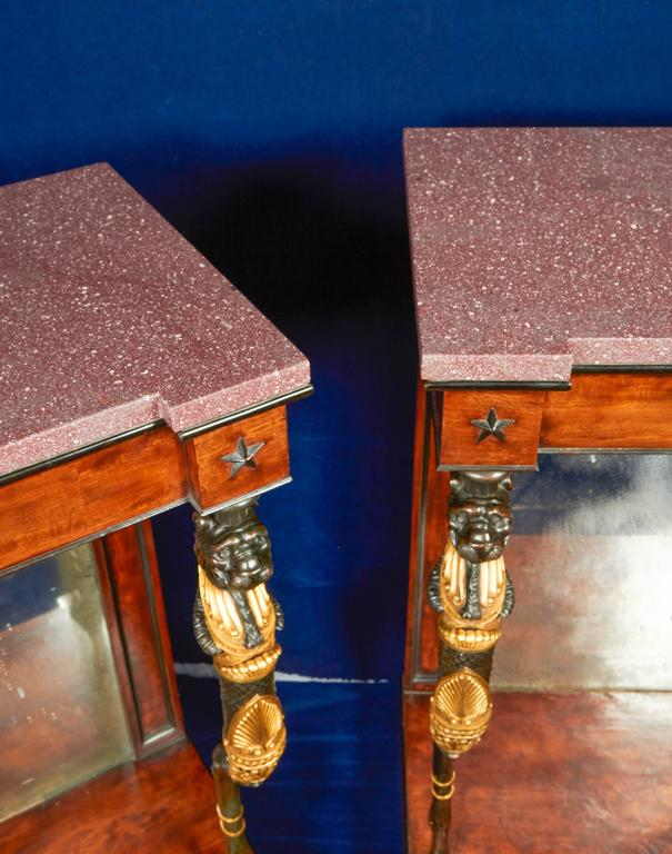 Pair of Regency Mahogany or Bronze Console Tables in the Manner of George Smith For Sale 1