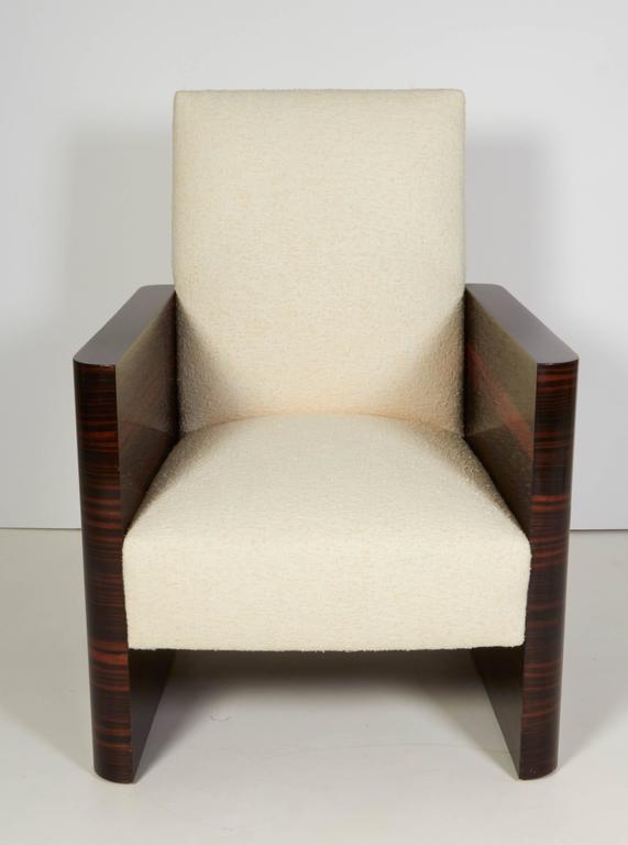 Pair of French Art Deco Macassar Wood Armchairs 4