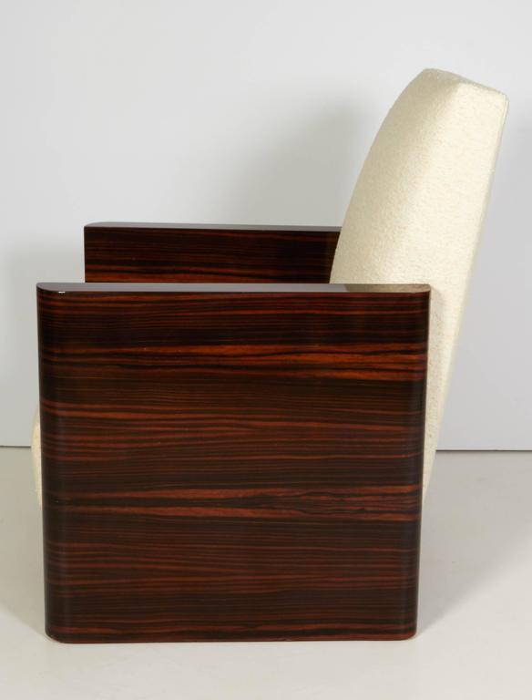 Pair of French Art Deco Macassar Wood Armchairs 6
