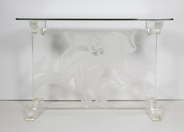 Italian Lucite and Glass Top Console 2