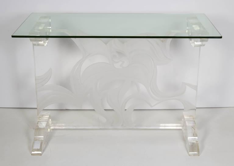 Italian Lucite and Glass Top Console 3