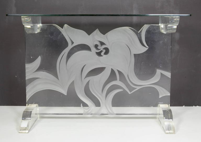 Italian Lucite and Glass Top Console 4