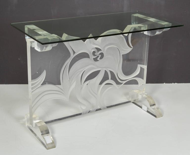 Italian Lucite and Glass Top Console 5