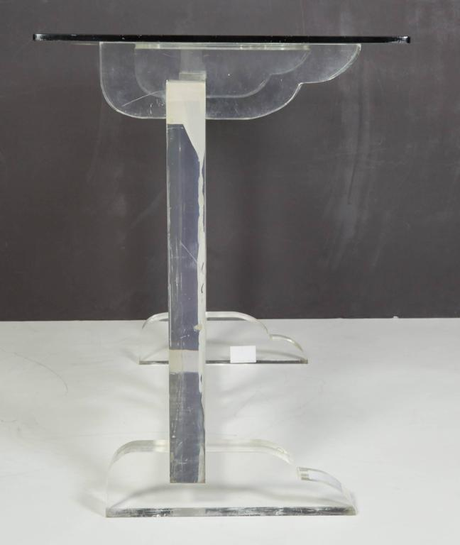 Italian Lucite and Glass Top Console 7