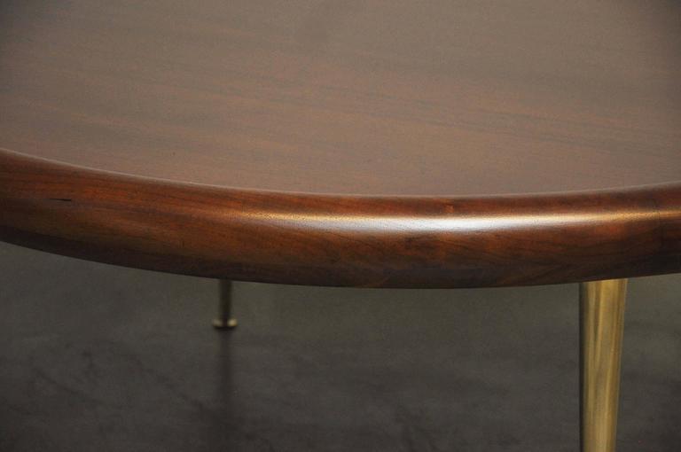 20th Century T.H. Robsjohn-Gibbings Brass Leg Pouf Ottoman For Sale
