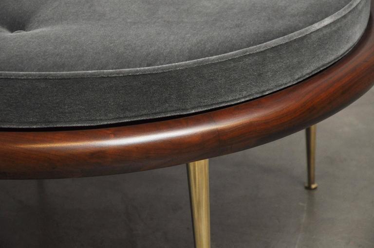 T.H. Robsjohn-Gibbings Brass Leg Pouf Ottoman For Sale 1