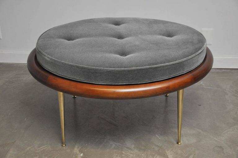 T.H. Robsjohn-Gibbings Brass Leg Pouf Ottoman For Sale 2