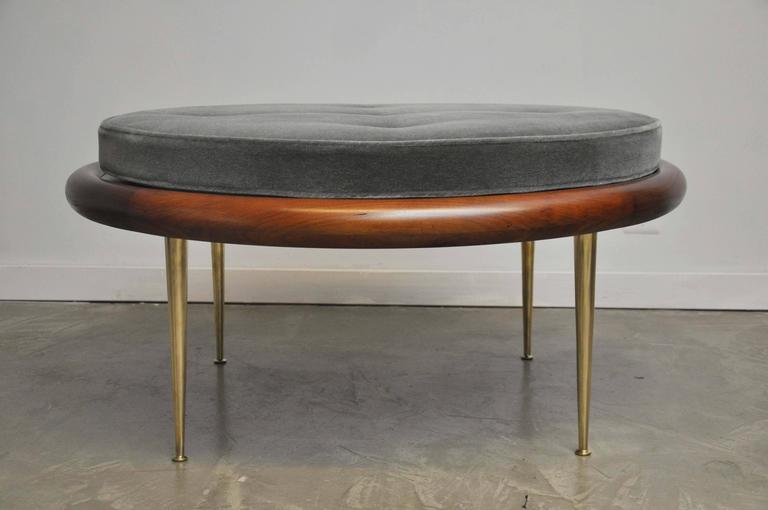 T.H. Robsjohn-Gibbings Brass Leg Pouf Ottoman For Sale 3