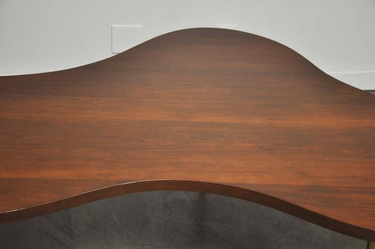 American Monumental Biomorphic Walnut and Brass Table by T.H. Robsjohn-Gibbings For Sale