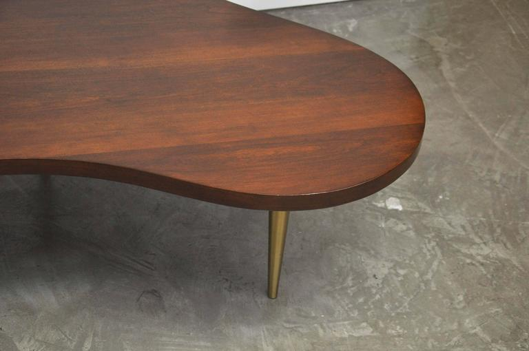 Monumental Biomorphic Walnut and Brass Table by T.H. Robsjohn-Gibbings In Excellent Condition For Sale In Chicago, IL
