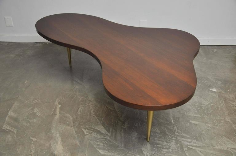 20th Century Monumental Biomorphic Walnut and Brass Table by T.H. Robsjohn-Gibbings For Sale